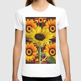 SOUTHWESTERN  BLACK COLOR YELLOW SUNFLOWERS ART T-shirt