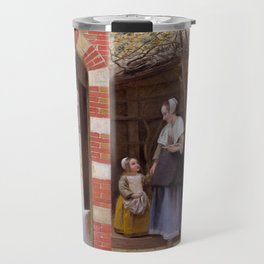 """Pieter de Hooch """"The Courtyard of a House in Delft"""" Travel Mug"""
