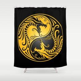 Yellow and Black Yin Yang Dragons Shower Curtain