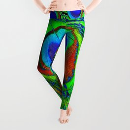 MODERN BLUE GREEN PEACOCK FEATHER ART Leggings