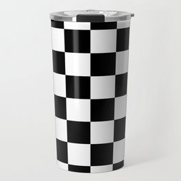 Black & White Checkered Pattern Travel Mug
