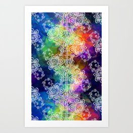 White Lace on Rainbow Tissue Paper Art Print