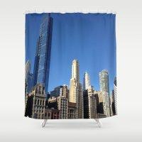 skyline Shower Curtains featuring Skyline by John Tao