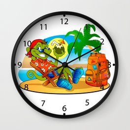 lizard smiling  resting under the palms Wall Clock