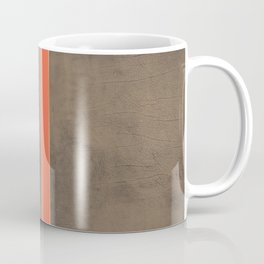Vintage Hipster Retro Design - Brown Leather with Gold and Orange Stripes Coffee Mug