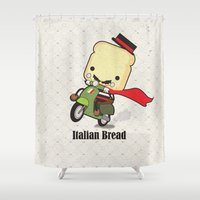 bread Shower Curtains featuring Italian Bread by The Little Prints