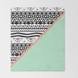 Block | Black White Aztec Pattern Mint Green Color Block Throw Blanket