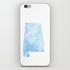 Typographic Alabama - Blue Watercolor map art iPhone & iPod Skin