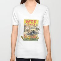 comic book V-neck T-shirts featuring A Comic Book Villian  by Berni Store