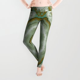 Soft And Sweet Lotus Floral In greens Leggings