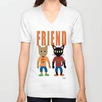 best friend V-neck T-shirts featuring Friend by BATKEI