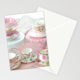 Shabby Chic Teacups Pink White Cottage Kitchen Decor Stationery Cards