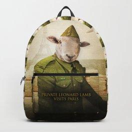 Private Leonard Lamb visits Paris Backpack
