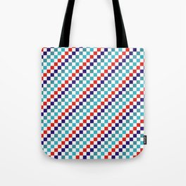 Gridded Red Tale Blue Pattern Tote Bag
