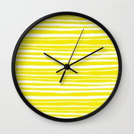 Small Sun Yellow Handdrawn horizontal Beach Stripes - Mix and Match with Simplicity of Life Wall Clock