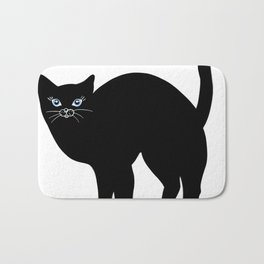 Black cat tshirt.Time spent with cat is never wasted  Bath Mat