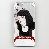 mia wallace iPhone & iPod Skins featuring Pulp Fiction's Mia Wallace by raeuberstochter