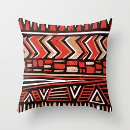 Aztec lino print Throw Pillow