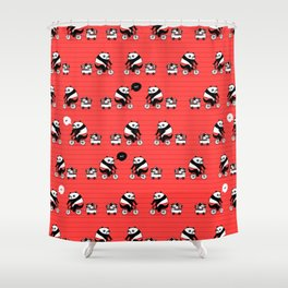 Cacti delivery. Panda on bicycle. Shower Curtain