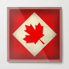 Canadian flag, vintage treated edition in square format to suit pillows, duvets, shower.....etc Metal Print