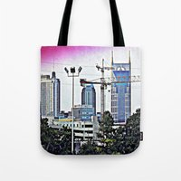 nashville Tote Bags featuring Nashville Grit by Andooga Design