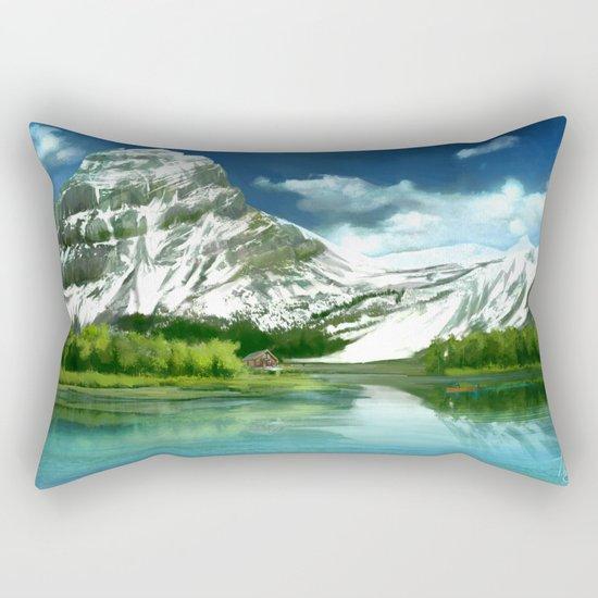 Mountain and lake landscape Rectangular Pillow