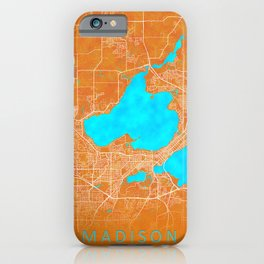 Madison, WI, USA, Gold, Blue, City, Map iPhone Case