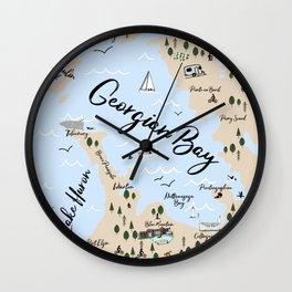 Map of Georgian Bay and Lake Huron Wall Clock