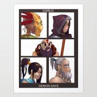 gorillaz Art Prints featuring Diablo Days by Philtomato