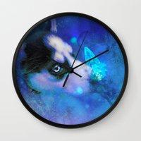 husky Wall Clocks featuring Husky by morgenleedahl