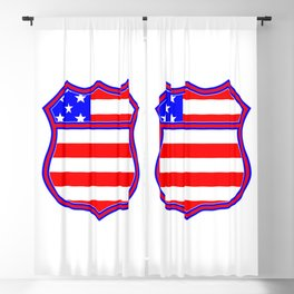 Route 66 Sign Silhouette With Flag Blackout Curtain