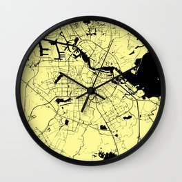 Amsterdam Yellow on Black Street Map Wall Clock