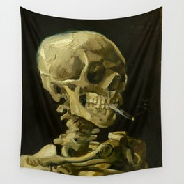Skull of a Skeleton with Burning Cigarette Painting by Vincent van Gogh Wall Tapestry