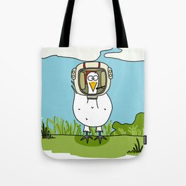 Eglantine la poule (the hen) dressed up as an astronaute Tote Bag