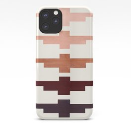 Mid Century Minimalist Ancient Aztec Inca Geometric Pattern Watercolor Raw Umber Colorful Gouache Pa iPhone Case