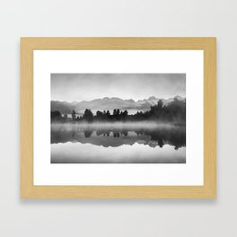 Mountains with trees reflecting in lake - black and white fine art print Framed Art Print