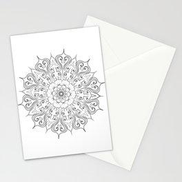 hand drawn lines mandala Stationery Cards