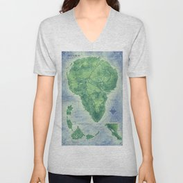 Jurassic Park - Map - Colour Unisex V-Neck