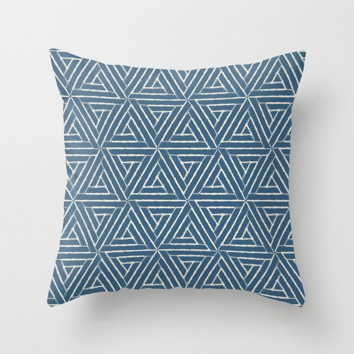 Linen White & Blue Aztec Tribal Triangle Pattern Pairs To 2020 Color of the Year Chinese Porcelain Throw Pillow