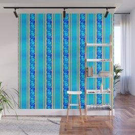 Blue Hibiscus Honu Stripes Wall Mural