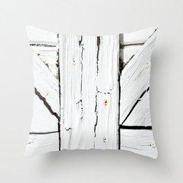 Art Deco White Wooden Gate Throw Pillow