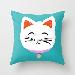 Here Kitty Kitty {aqua} Throw Pillow
