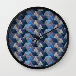 Blue Velvet Triangles Wall Clock