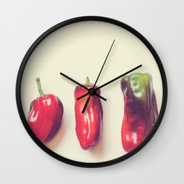 peppers photograph. hot Wall Clock