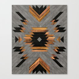 Urban Tribal Pattern 6 - Aztec - Concrete and Wood Canvas Print