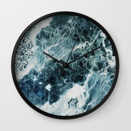 Blue Sea Marble Wall Clock