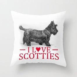 I Love Scotties Throw Pillow