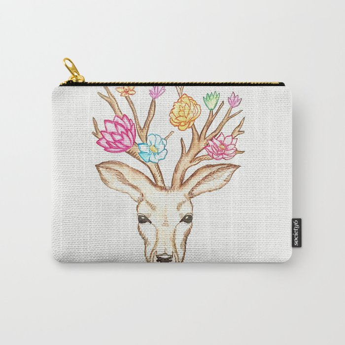Deer with flowers Carry-All Pouch