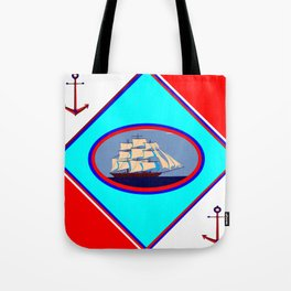 A Nautical Oval Ship and Anchors, red, white and blue Tote Bag