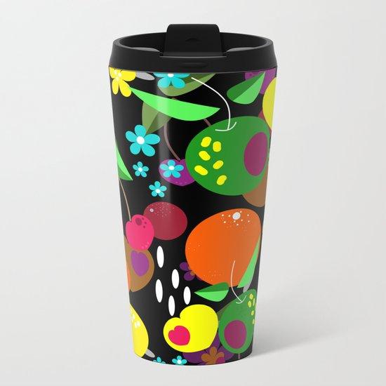 Fruit berry pattern on black . Metal Travel Mug